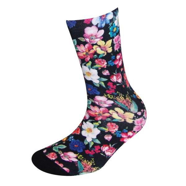 COOL7- 3D Print Damen Bambus Socken Flowery