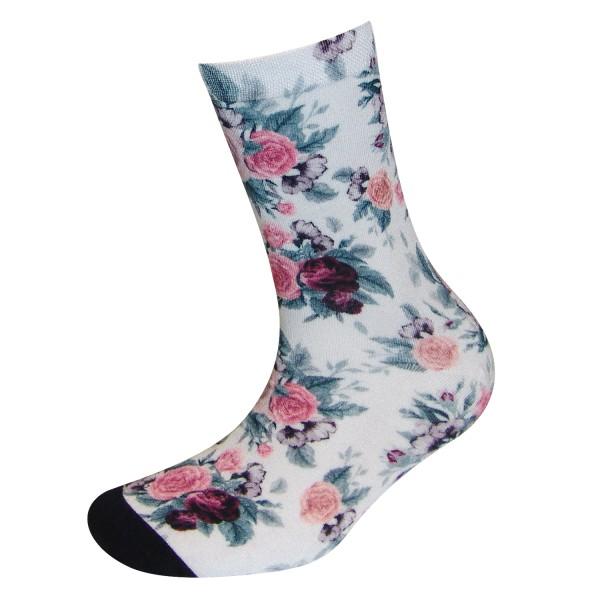 COOL7- 3D Print Damen Bambus Socken Roses