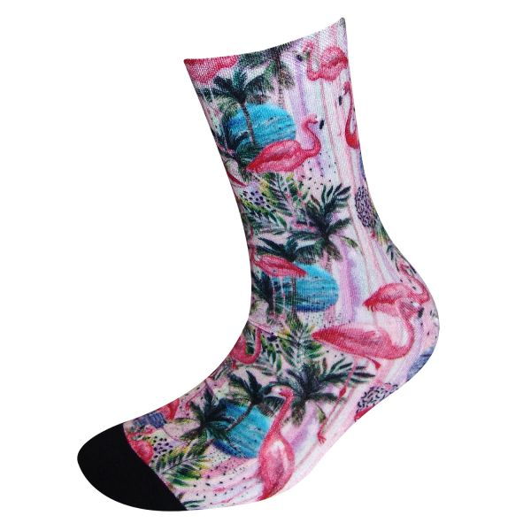 COOL7- 3D Print Damen Bambus Socken Pink Flamingo