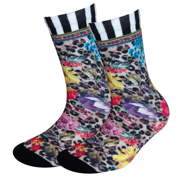 COOL7- 3D Print Damen Bambus Socken Leo Stripes
